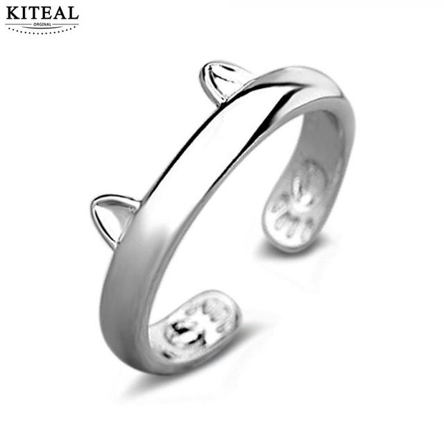 Silver Gold Color Cat Ear Ring Design Cute 925 Stamp Fashion Jewelry Women Girl Gifts Adjustable Charms Anel GSZR0064
