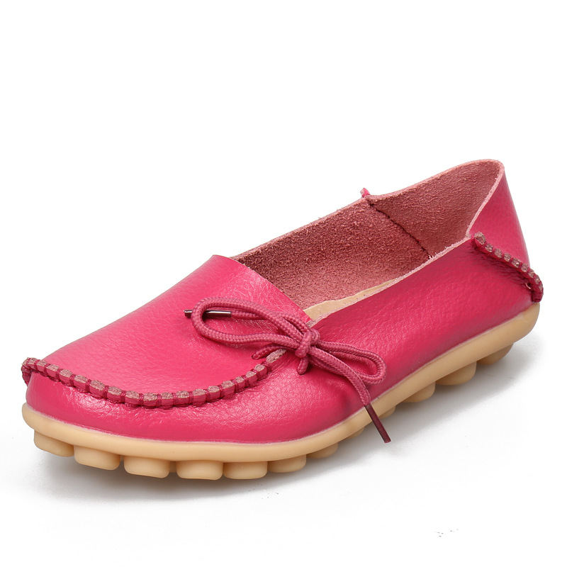Hot Leather Women Flats Shoes Soft Slip on Casual Ballet Shoes Woman Fashion Loafers Ladies Shoes Plus Size 43 44 Zapatos Mujer bowtie ballet flats women sweet casual single shoes summer soft open toe sandals slip on fashion ladies large size 41 moccasins