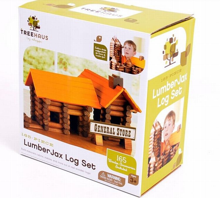 165pcs Set Built The Cabin Wood Log Set Wooden Toy Baby Early