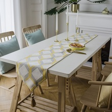 Modern dinning table runner yellow/blue geometric embroidery tea table runners with tassel decorative home hotel bed runners