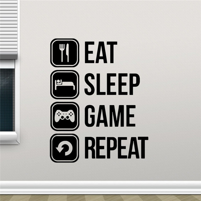 Eat Sleep Game Repeat Decal Gaming Vinyl Sticker Joystick Gamepad Gamer Wall Art Design Teen Room Gaming Room Wall Sticker M51