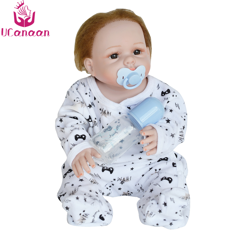 UCanaan 20'' 50CM Reborn Doll Hair Rooted Realistic Baby Born Dolls Soft Silicone Lifelike Newborn Toys For Girls XMAS Kids Gift newest silicone reborn doll 50cm 20 handsome baby reborn dolls lifelike baby newborn christmas birthday gift juguetes for kids