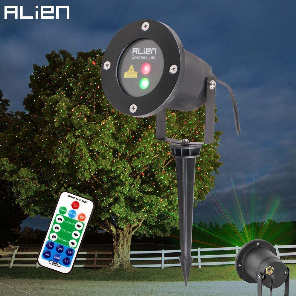 все цены на ALIEN Remote Christmas Outdoor RG Laser Light Show Projector Waterproof Lights For Holiday Xmas Tree Decorations Garden Lighting