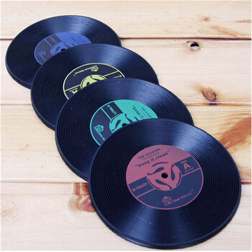hot sale vinyl coaster retro vinyl cd record cups drinks holder mat tableware placemat in mats. Black Bedroom Furniture Sets. Home Design Ideas
