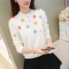 Women Sweaters And Pullovers 2017 New Winter Sweater Round Neck Sleeved Jacket Slim Female Petals Jacquard