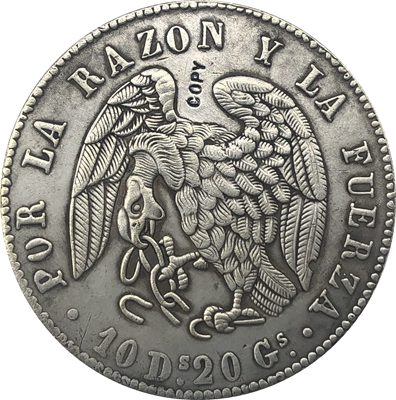 1839 chile 8 reales moeda cópia 39mm