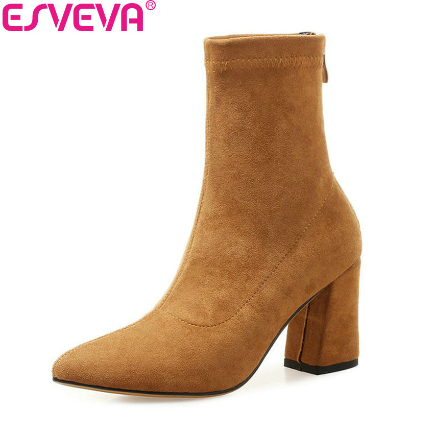 ESVEVA 2019 Women Shoes Zip Sewing Square High Heels Ankle Boots Shoes Western Style Autumn Pointed Toe Woman Boots Size 34-39 esveva 2019 ankle boots for women shoes round toe square high heels synthetic woman boots shoes autumn ladies boots size 34 39