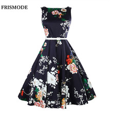 FRISMODE Peony Print Floral Sleeveless 1950s swing Dress Belt 2017 Women Summer Dress Retro Audrey Hepburn Vintage Dresses