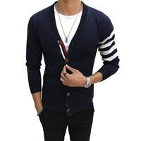 2018 New Men S Sweater Knitwear Cardigans Autumn Winter Casual V Neck Slim Fit Cardigans Warm