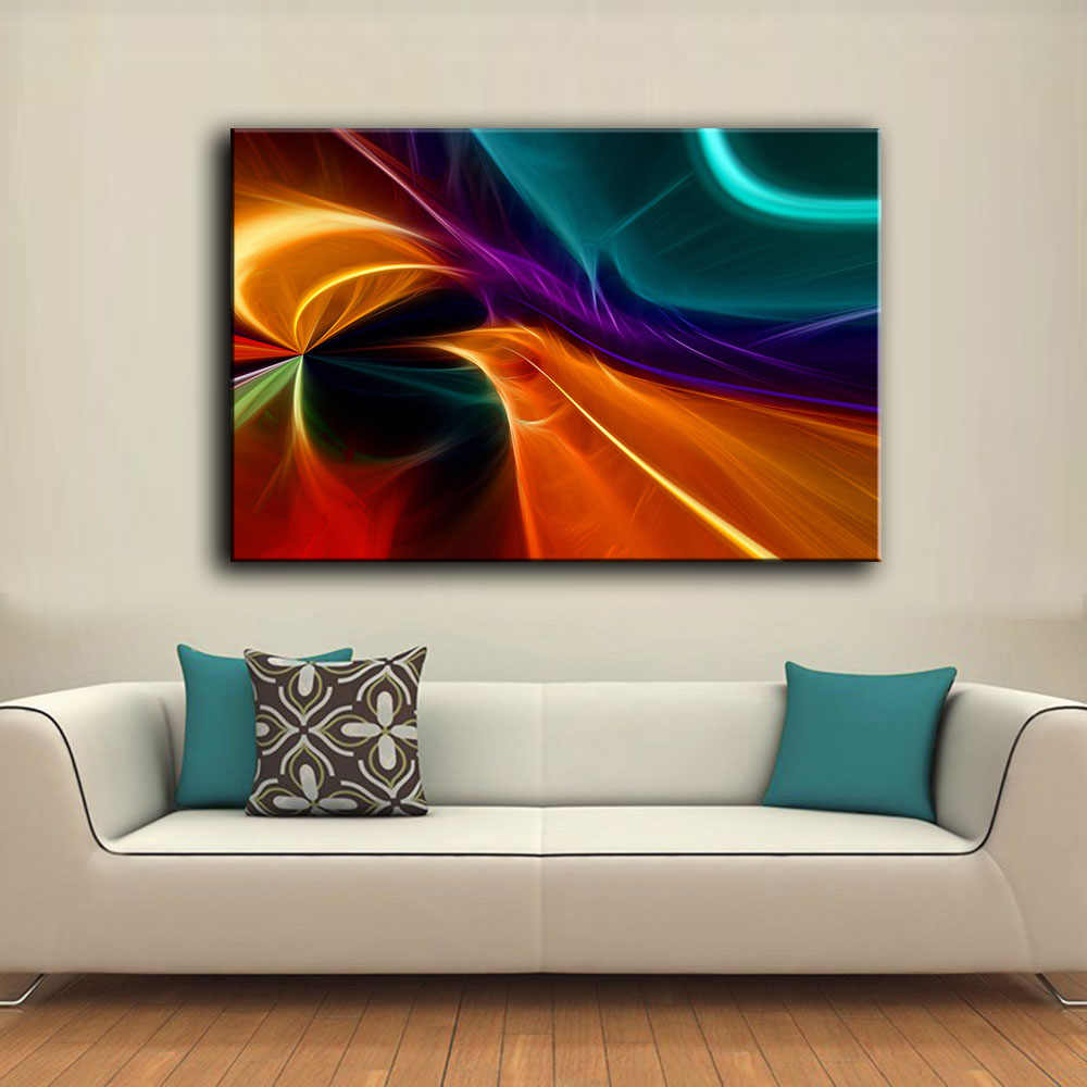 HDARTISAN Printed Oil Painting Wall painting background abstract Feather II Wall Art Picture For Living Room painting no frame