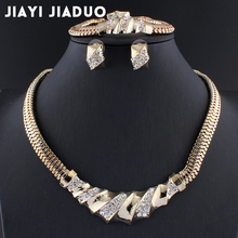 jiayijiaduo Wedding Accessories African Beads Jewelry Sets Crystal  Gold color Bridal Necklace set Bracelet Earrings Rings Set
