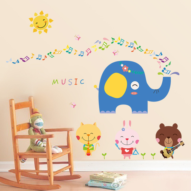 Adorable Cuteness Animals Kindergarten Nursery Day Care Center Baby Bedroom Children Decorative Wall Films Decor