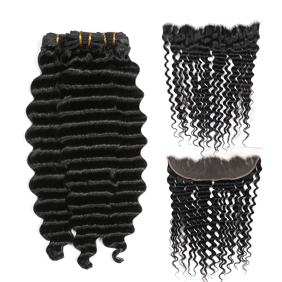 Alisky Hair Peruvian Deep Wave 3 Bundles with 13x4 Lace Frontal Closure Human Hair Bundles With