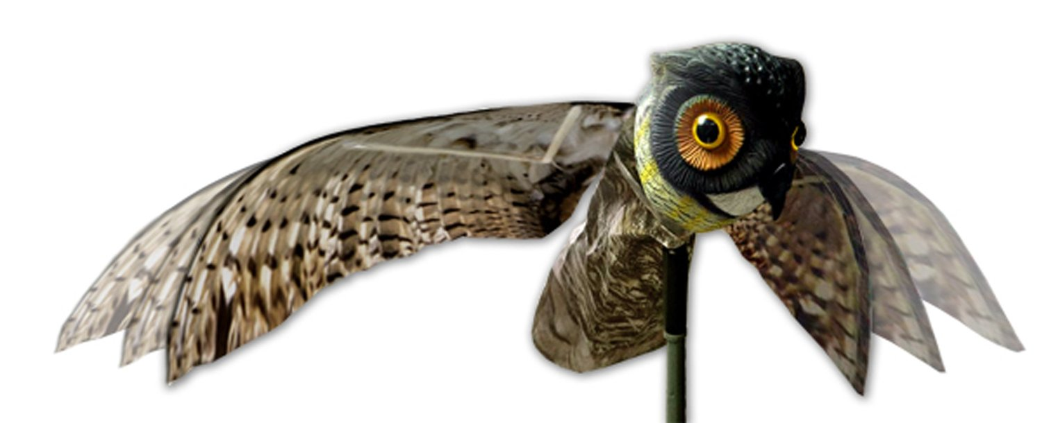 Natural Fake Owl Decoy Scarecrow Bird Pest Control met Moving Wings Realistic Scare Bird, Rat, Mice, Rodents Aways