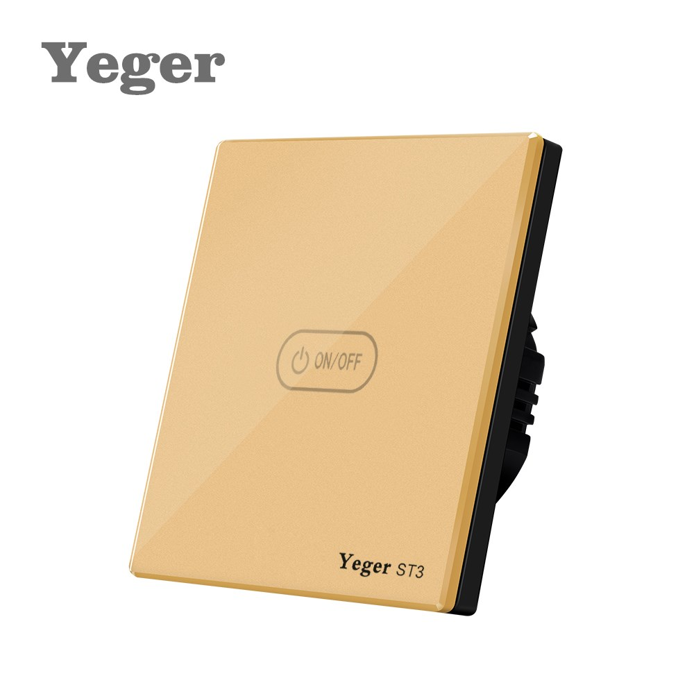 Yeger  EU Standard Wall Touch Switch Luxury White Crystal Glass Normal 1 Gang 1 Way smart home us au wall touch switch white crystal glass panel 1 gang 1 way power light wall touch switch used for led waterproof