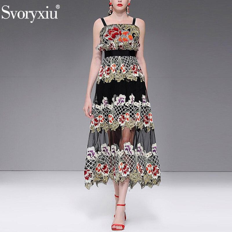Svoryxiu Women s Summer Runway Custom Mesh Sling Long Dress High End Gold Line Embroidery luxury