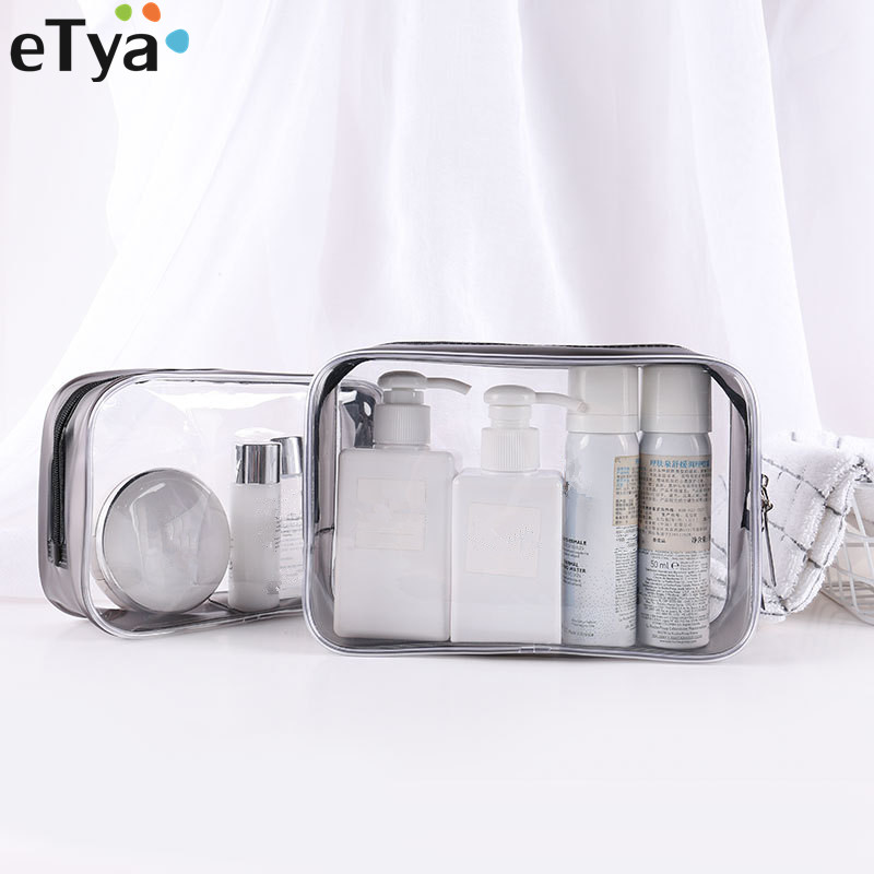 ETya PVC Clear Travel Make Up Bag Box Zipper Small Large Women Cosmetic Bag Toiletry Bath Storage Pouch Bags