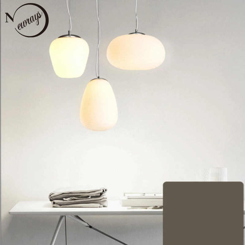 Nordic simlpe milky white pendant lights E27 glass single head lamp for living room dining bedroom