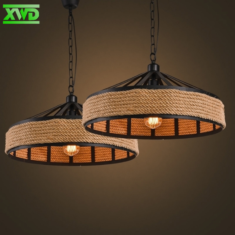 American Hemp Rope Iron Pendant Lamp Parlor Coffee House Dining Room Bar Shop Indoor Lighting E27