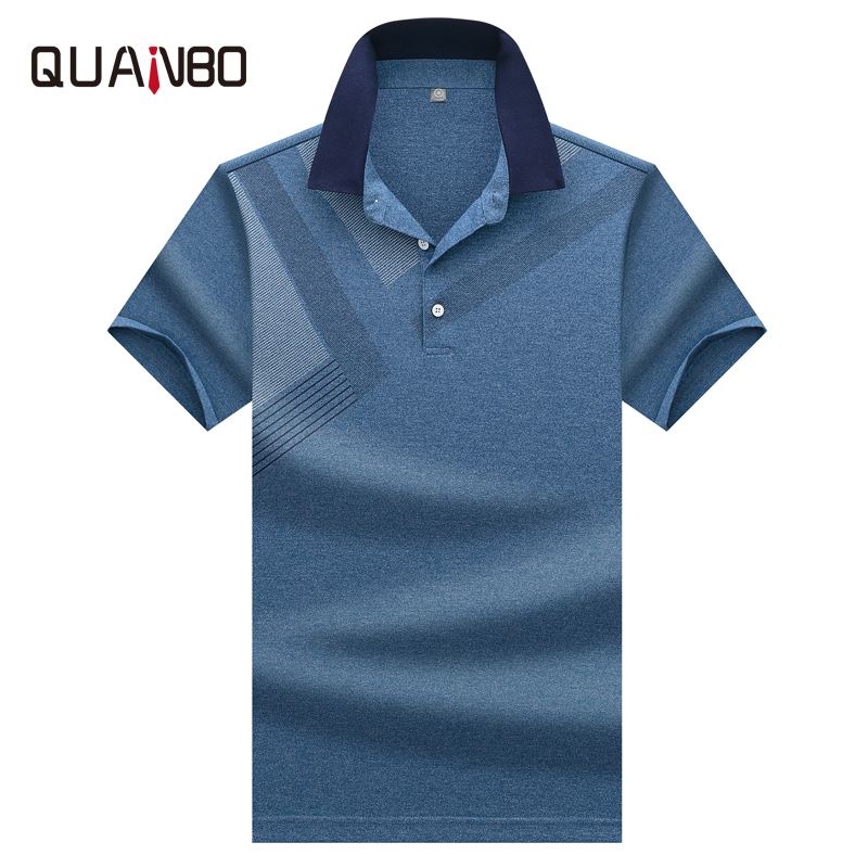 QUANBO High Quality Tops&Tees Men's   Polo   shirts Business Men Brand   Polo   Shirts Fashion Print Casual Short Sleeve   Polo   Shirt