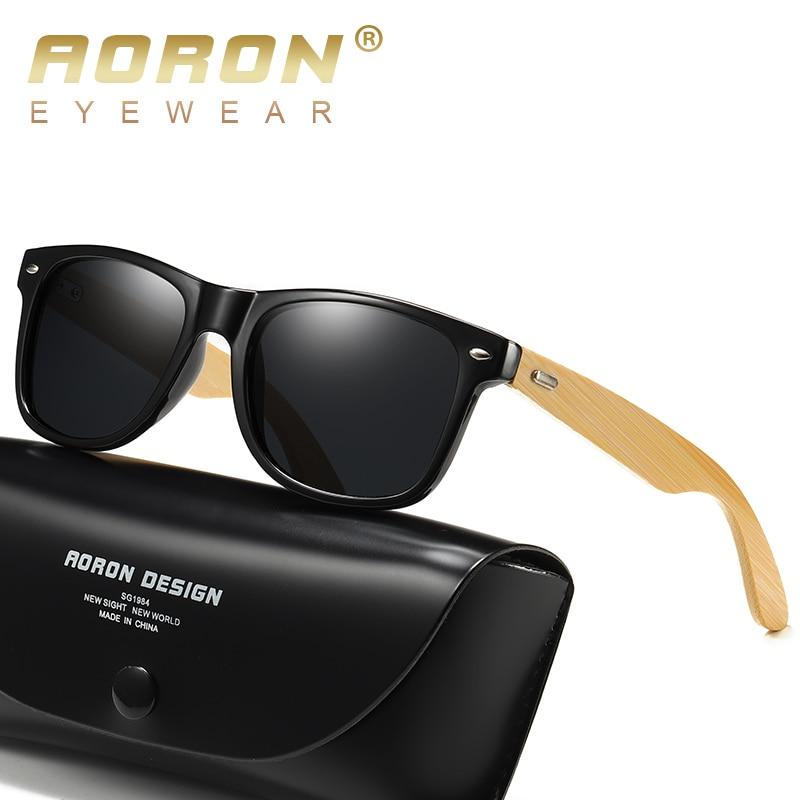 AORON Wood Mens Polarized Sunglasses Men women square bamboo Leg Sun Glasses UV400 Eyeglasses