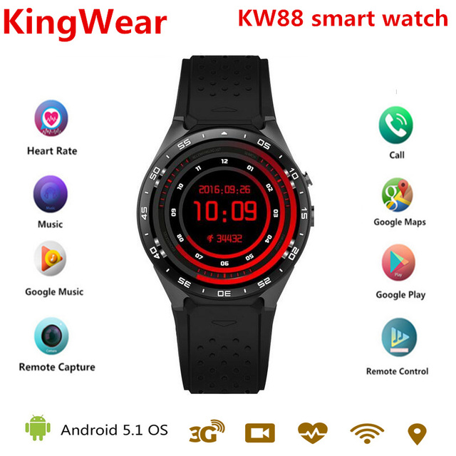 US $76 72 52% OFF|2018 KW88 Android 5 1 Smart Watch Phone MTK6580 quad core  1 3GHZ ROM 4GB + RAM 512MB 1 39 inch 400*400 Screen with 2 0MP camera-in