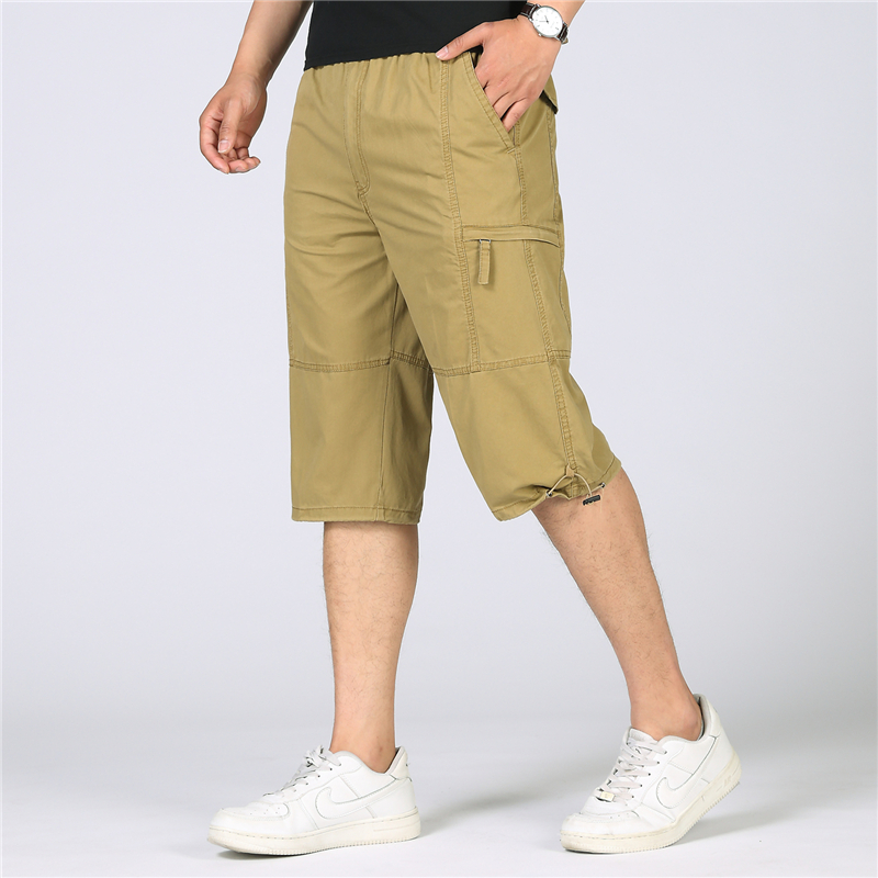 Mens Cargo Shorts Summer Casual Cotton Loose Shorts Men Army Military Tactical Baggy Capris Knee-Length Short Plus Size 6XL