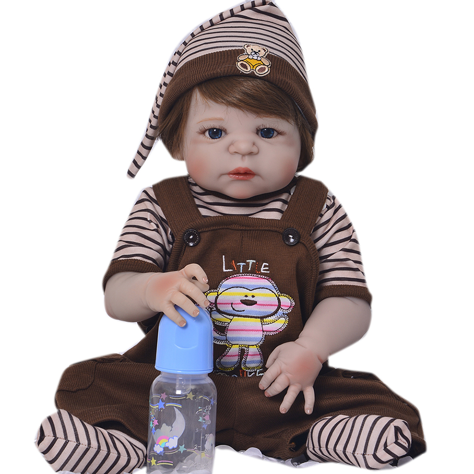 23'' Full Silicone Vinyl Reborn Dolls Babies With Magnetic Pacifier Realistic Reborn Dolls Gold Hair Boy Bebe Kids Birthday Toy g24 6w 550lm 3000k 55 3014 smd led bulb warm white light bulb white silver ac 85 265v