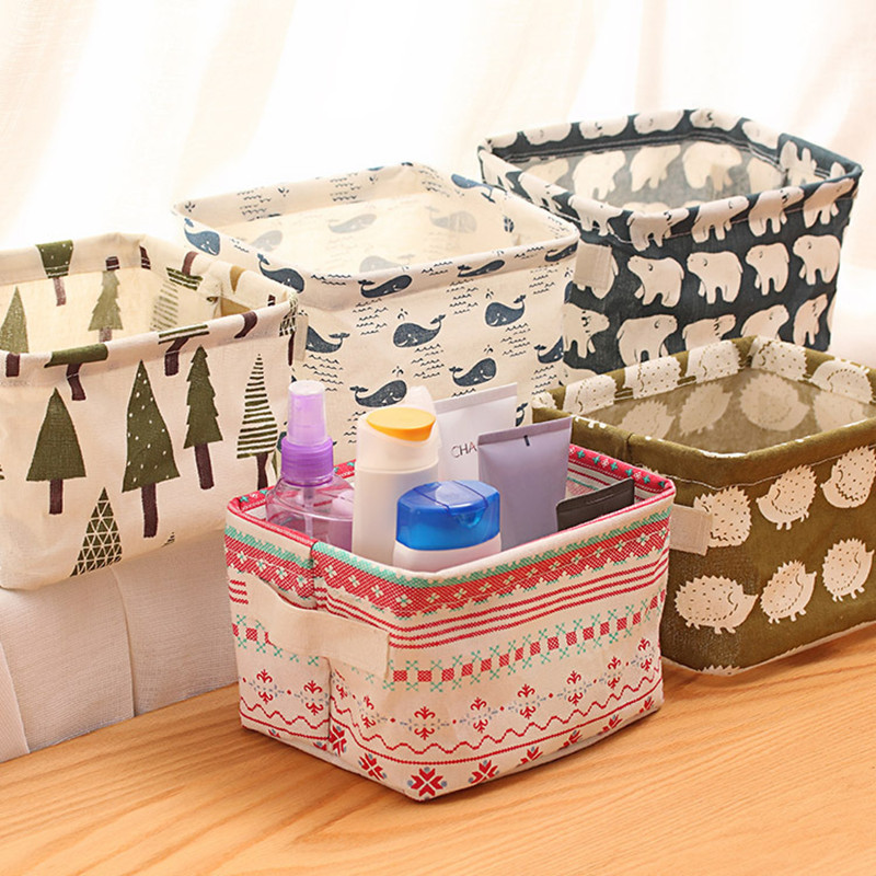 Well Printed Fabric Storage Box For Cosmetic Makeup Organizer Case For Sundries Home Storage Organizer Hold 242