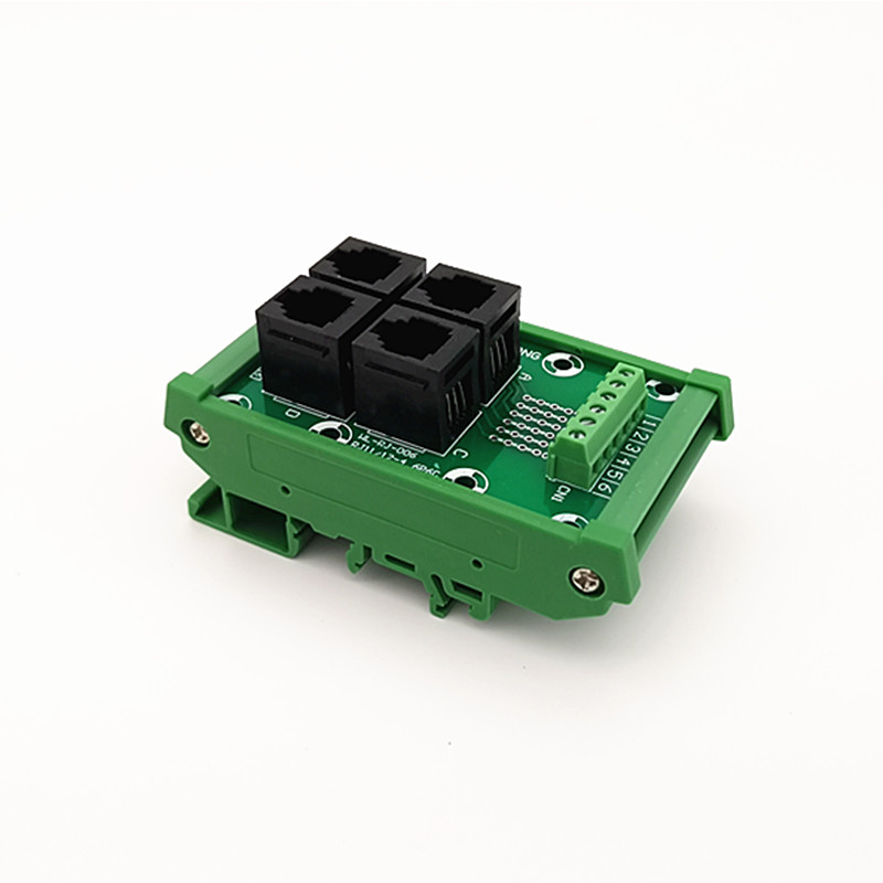 DIN Rail Mount RJ11/RJ12 6P6C Jack 4-Way Buss Breakout Board, Terminal Block, Connector.DIN Rail Mount RJ11/RJ12 6P6C Jack 4-Way Buss Breakout Board, Terminal Block, Connector.