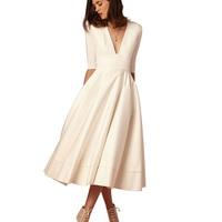 BEFORW High Quality Sexy High Waist Dress 2018 Summer Five Sleeves Deep V Female Dress Elegant