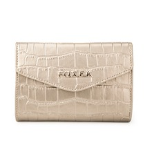 FOXER Brand Designer Women's Leather Wallet High Quality CROCO Embossing Leather Women Wallets and Purse