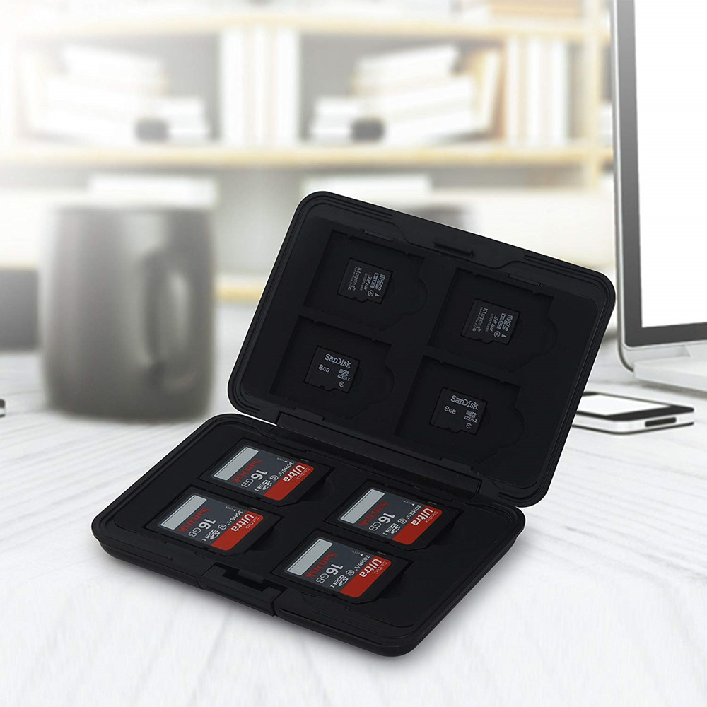 Portable Aluminum Micro SD SD SDHC SDXC TF Memory Card Carrying Case Holder Organizer Box 16 Slots For Camera Media Storage 5