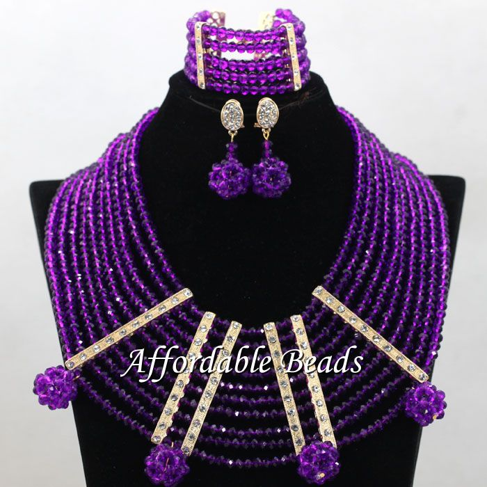 Purple Nigeria Beads Best Selling African Wedding Set New Arrival Style Wholesale ABC087 new arrival wholesale