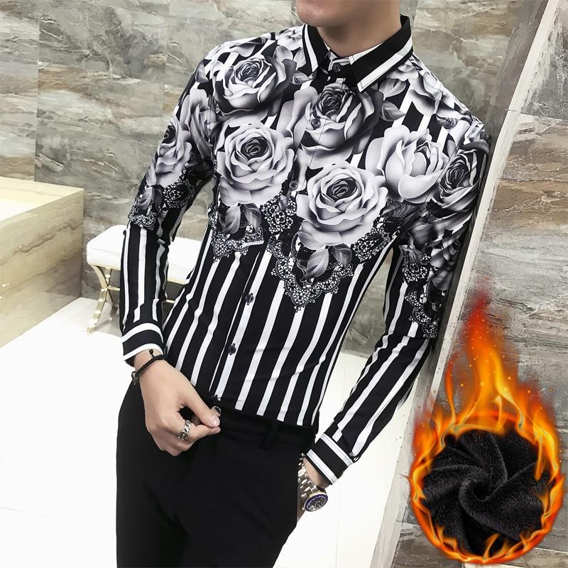 Hot Sale Men Dress Shirt Fashion 2018 Winter Thick Warm Shirts Mens Casual Slim Fit Long Sleeve Hairstylist Shirt Men Tuxedo 3XL