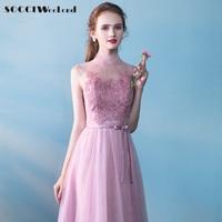 SOCCI Fim de Semana Rosa Da Dama de Honra Vestidos 2017 Mulheres vestidos de Noiva Tulle Lace Alta Neck Mangas Robe de Vestido de Casamento Formal Vestido de Festa