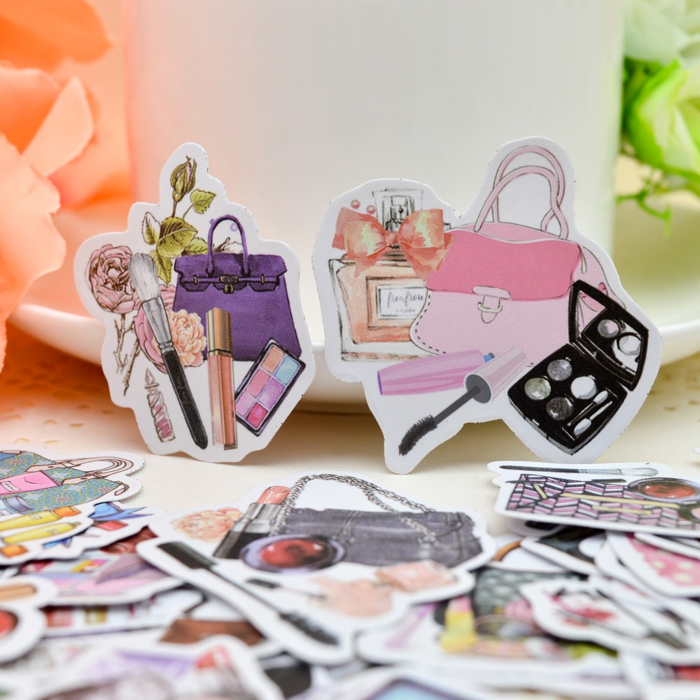 30pcs Kawaii  Girls Small Cosmetics Sticker Self-made Beauty Woman Bag S/ DIY Diary Book Paper