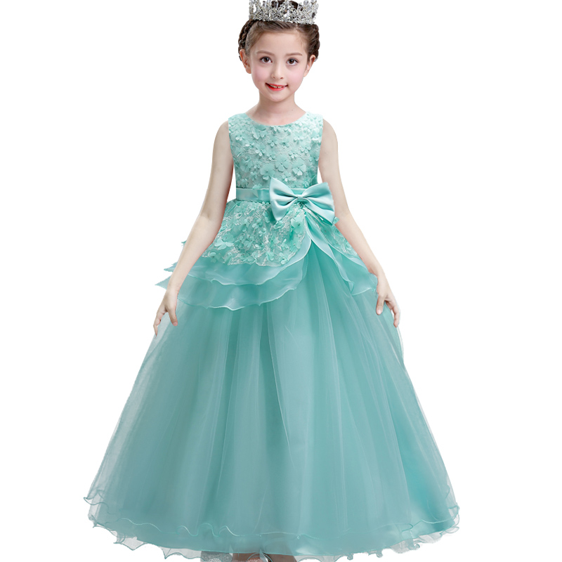 цены Teenage birthday Party dress Kids Flower Girl Dress elegant Princess Wedding Pageant Formal Dress Sleeveless Lace Petals Dress