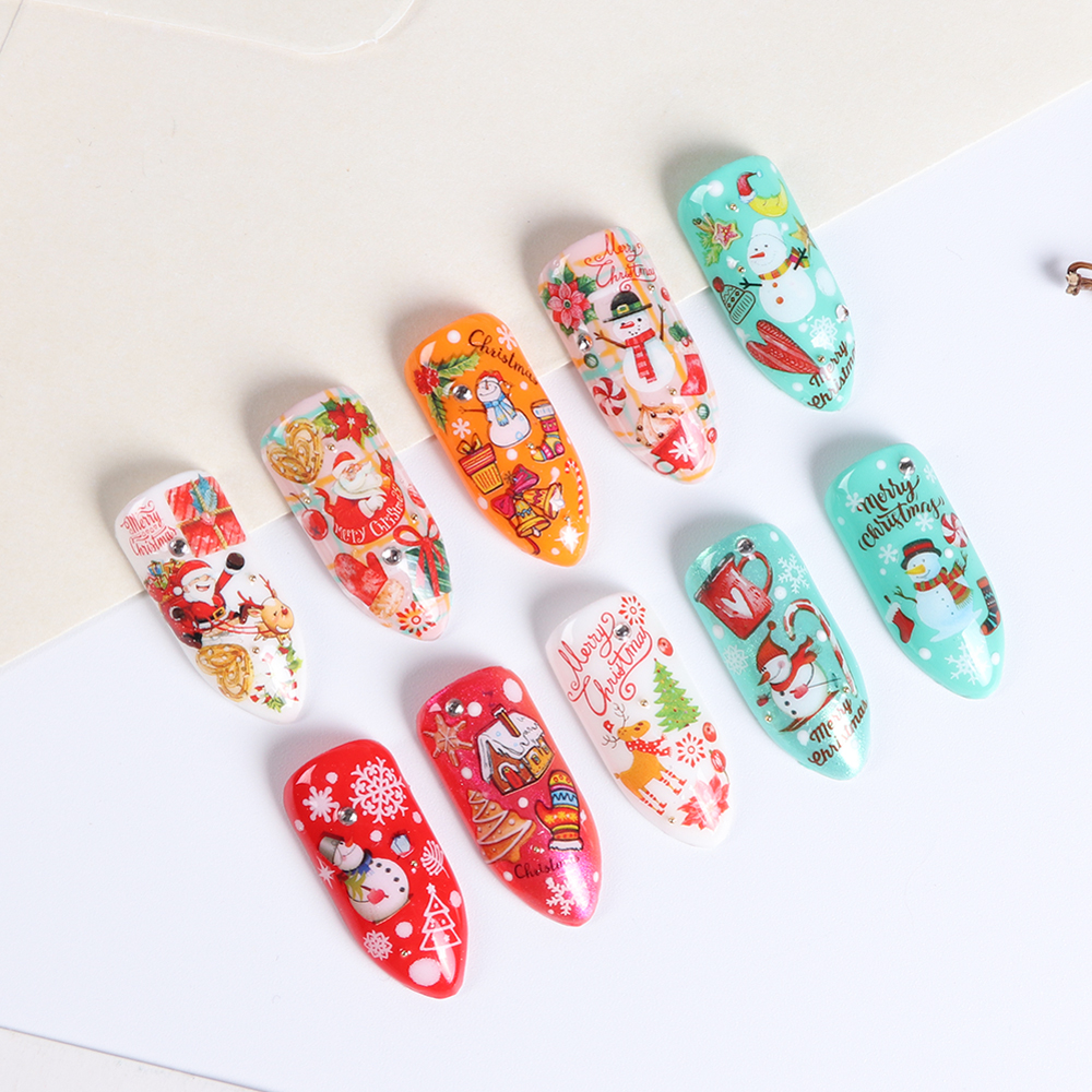 Aliexpress Buy 11 Designs 3d Christmas Nail Sticker Art Santa