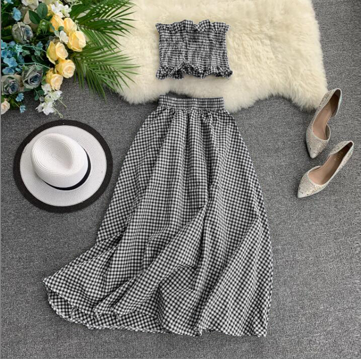 New Korean Summer Two Piece Outfit Women Sleeveless Tank Top + High-waist Slim Long Skirt Plaid 2 Pcs Sets Woman Fashion Suit