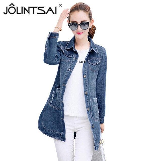 Plus Size S-3XL 2017 Fashion Broken Hole Long Sleeve Ladies Denim Jacket New Arrival Vintage Slim Jeans Women Tops