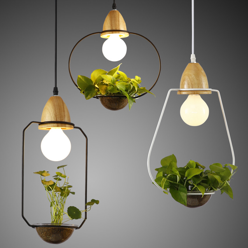 Modern Simple E27 Holder Wood Led Pendant Lights 3 Kinds