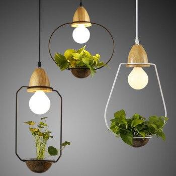 Modern Simple E27 Holder Wood Led Pendant Lights,3 Kinds Loft Wrought Iron Plant Pot Bar Restaurant Pendant Lamp Hanging Lamps