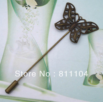 Antique Bronze Plated Copper Blank Bases Filigree Butterfly Brooches Pins Safety-pin Cameo Diy Settings Blank Wholesale