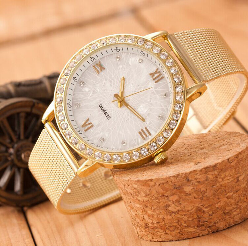 Dropshipping Classy Women Ladies Crystal Roman Numerals Gold Mesh Band Wrist Watch Lady Dress Watch Dropship Watches Quartz Watches