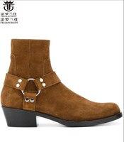 FR. ланселот в европейском стиле на высоком каблуке с острым носком кожаные мужские ботинки с железным носком Повседневная мужская обувь мод