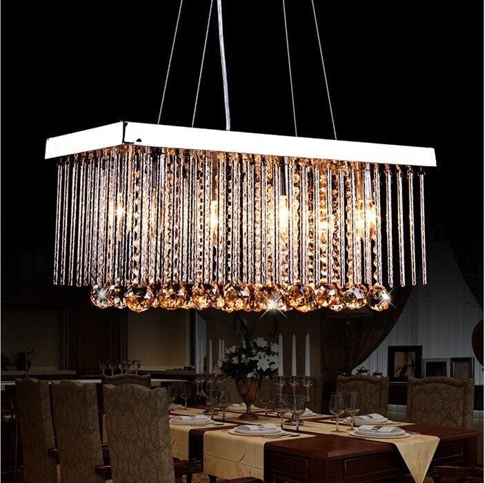 New Modern Stainless steel LED Crystal Pendant Lights living room dining room Ceiling lamp E14 85V-260V lustre Bedroom lighting