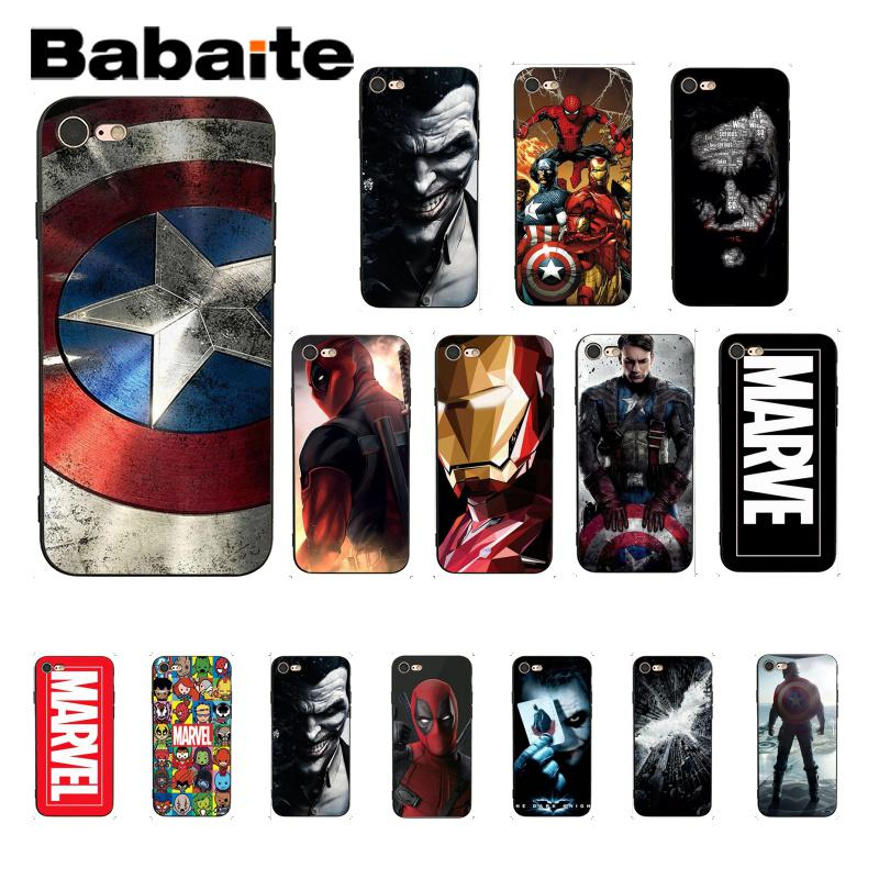Babaite Marvel The Avengers Jorker Dead Pool Pattern TPU Soft Phone Case for iPhone 6S 6plus 7 7plus 8 8Plus X Xs MAX 5 5S XR marvel glass iphone case