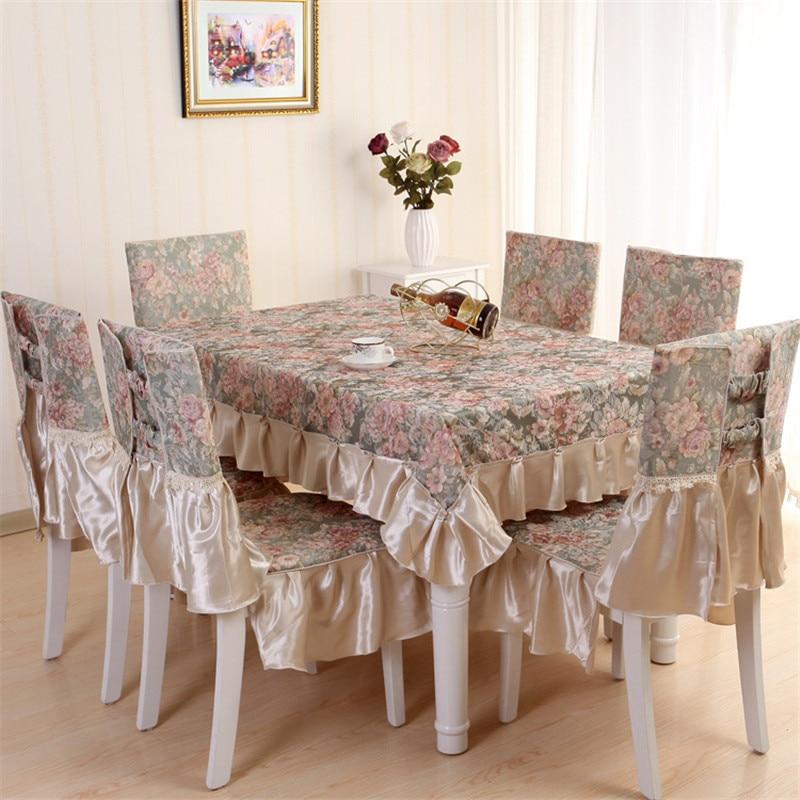 Europe luxury dining tablecloth chair cover set 100 - Adornos para mesa de comedor rectangular ...