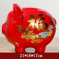 Modern Ceramics Red Pig Figurines Miniature Statues Baby Piggy Bank Kid Saving Cash Coin Money Box Birthday Gift Home Decoration